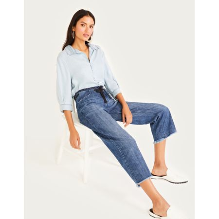 CALCA JEANS CROPPED ILHOS COS