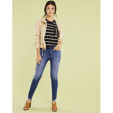 CALCA JEANS SKINNY BORDADA