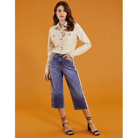 CALCA JEANS CROPPED FAIXA LATERAL