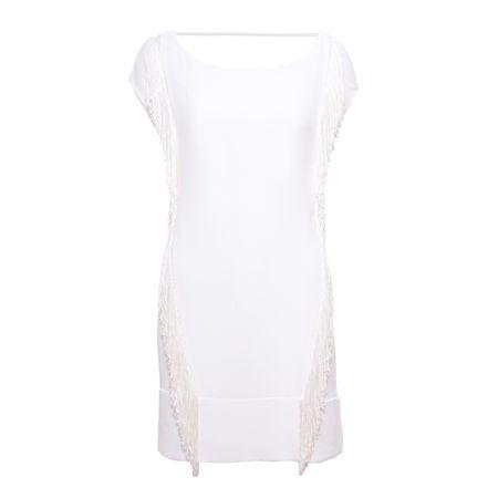 Vestido de franja branco
